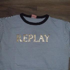 Pruhovan� modr� triko Replay s dlouh�m ruk�vem - foto �. 1