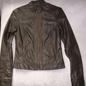 Tmavě hnědá koženková bunda Pimkie - foto č. 1
