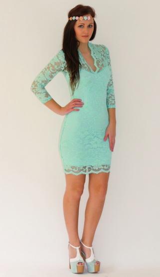 Společenské tyrkysové  mint  krajkové šaty Asos - Bazar Omlazení.cz 827dbb2abb0