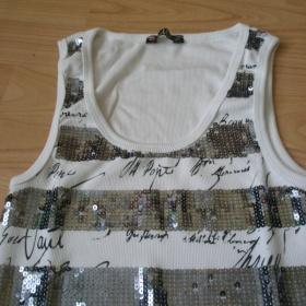 Bílé tričko s flitry  Tally vejl - foto č. 1