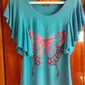 Modré tričko s netopířími rukávy - foto č. 1