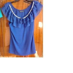Modré tričko s perlami - foto č. 1