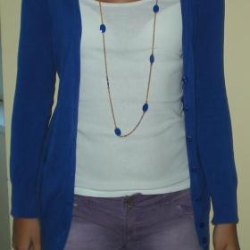 Modrý cardigan