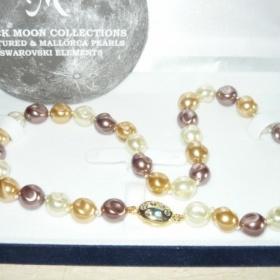 Náhrdelník z pravých říčních perel s kamínkama swarovski neznačková - foto č. 1