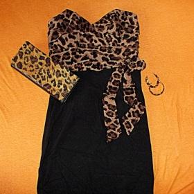 Černo/hnědá šaty lipsy london - foto č. 1
