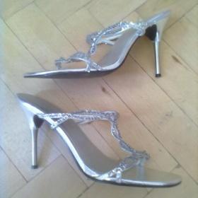 Stříbrné  společenské sandálky Na podpadku - foto č. 1