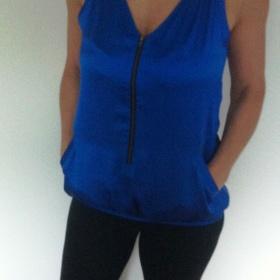 Modr� top se zipem Miss Selfridge - foto �. 1