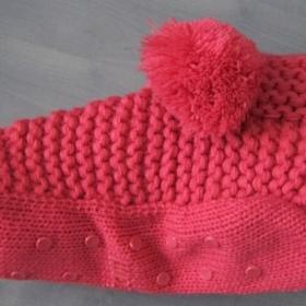 Růžové  domácí pletené bačkůrky Etam - foto č. 1