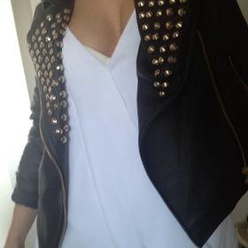 Černá koženková bunda (křivák) Zara - foto č. 1