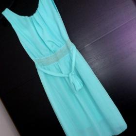Modré šaty s kamínky Bára - foto č. 1