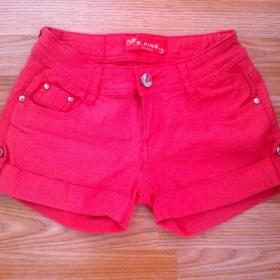 Růžové mini šortky neznačkové - foto č. 1