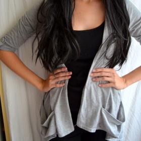 šedý cardigan Be beau - foto č. 1