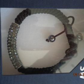 Šedý třpytivý náramek shamballa Swarovski - foto č. 1