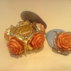 Oranžovozlatý set náramek a prsten S.I.X. - foto č. 1