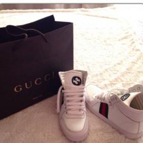 B�l� unisex kotn��kov� tenisky Gucci - foto �. 1