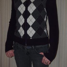 Kostkovaný, fialový svetřík s kapucou neznačková - foto č. 1
