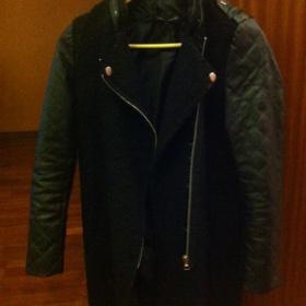 Černý kabát s koženými rukávmi Sheinside - foto č. 1