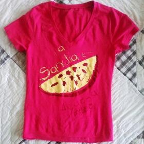 Růžové tričko s krátkým rukávem neznačkové - foto č. 1