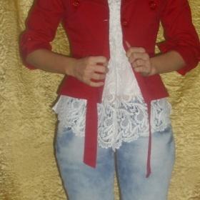 Červené sako s tříčtvrtečními rukávy neznačková - foto č. 1