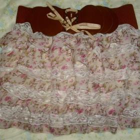 Květovaná růžová sukně neznačková - foto č. 1