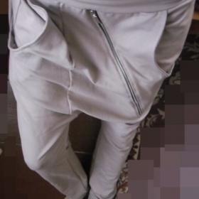 Hn�d� sv�tle har�mov� kalhoty se zipem Italy - foto �. 1