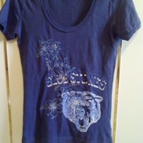 Modré tričko s potiskem Replay - foto č. 1