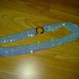 Flitrovaný tyrkysový pásek NY - foto č. 1