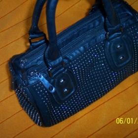 Černá kabelka se stříbrnými kamínky neznačková - foto č. 1
