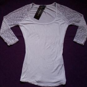 Bílé triko s krajkovými rukávy Amisu - foto č. 1