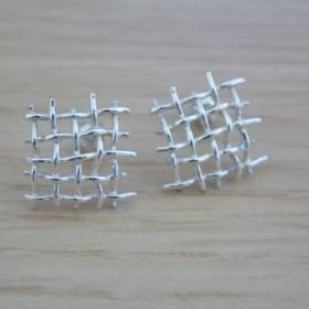 Stříbrné náušnice síťka neznačková - foto č. 1