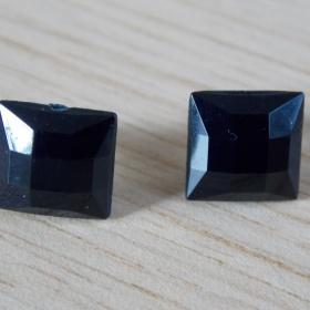 Černé  náušnice čtverečky neznačková - foto č. 1