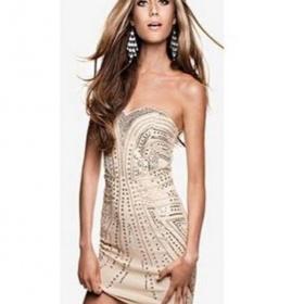Nude šaty se stříbrnými flitry H&M - foto č. 1