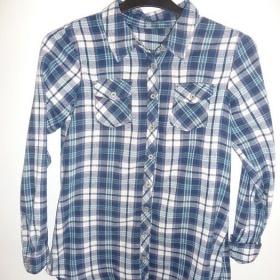 Bílá modrá dámská flanelová košile H&M - foto č. 1