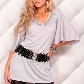 šedá, stříbrná tunika s kamínky Moda Italy - foto č. 1