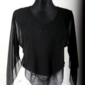 Černá průhledné tričko/halenka s cípy neznačková - foto č. 1