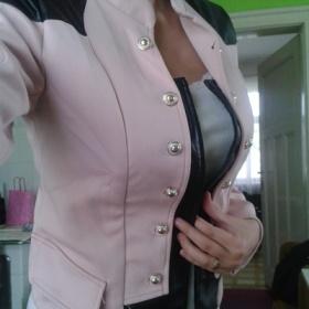 Růžové sako s koženkou neznačková - foto č. 1