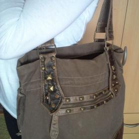 Hnědá  látková kabelka se cvoky Jennifer - foto č. 1