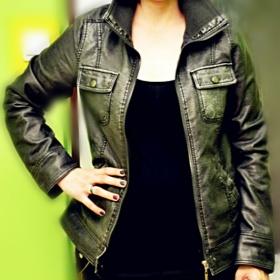 šedá koženková bunda Kik textil - foto č. 1
