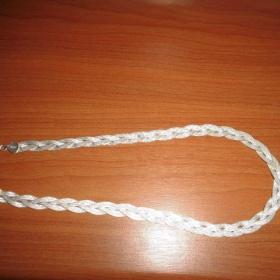 Stříbrný  plochý pletený Náhrdelník - foto č. 1