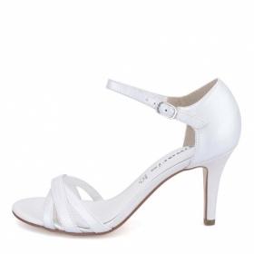Kde koupit bílé páskové sandálky na podpatku?