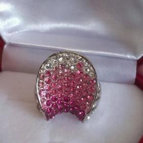 Třpytivý ombré prsten, rhodiovaná Bižu - foto č. 1