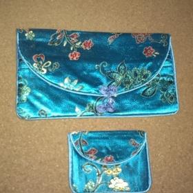 Sada peněženky a taštičky v japonském stylu - Modrá - foto č. 1