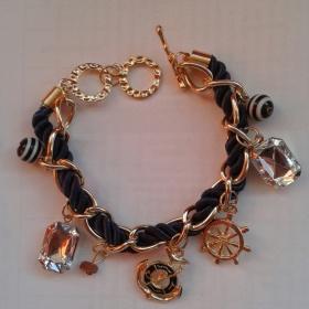 Zlato - modrý Navy náramek Fashion Jewlery - foto č. 1