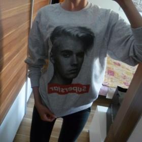Šedá mikina Justin Bieber neznačková - foto č. 1
