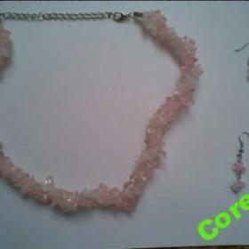 Náhrdelník+náušnice z růžovo-bílých kamínků+dárek - foto č. 1