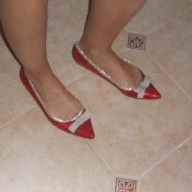 Plesové červeno zlaté balerínky od Bati - foto č. 1