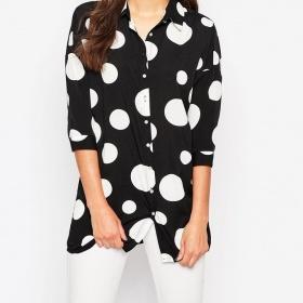 Puntíkovaná dlouhá košile s 3/4 rukávy Vero Moda