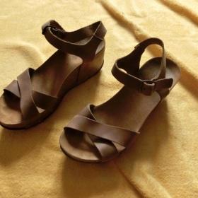 Hnědé boty platformy sandále sandály korkové Oxygen