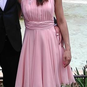 Světle růžové šaty šifon společenské plesové koktejlky El