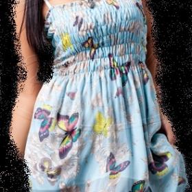 Letní modré šaty s motýlky - foto č. 1